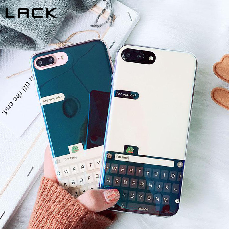 LACK Cute Frog Phone Case For iphone 7 6 6s 8 Plus X <font><b>Funny</b></font> Chat Keyboard interface Soft TPU Phone Back Cover Cases Lovely Coque