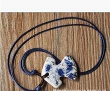 Cute Ceramic Blue And White Section Of Town Landscape necklace in clothes shape Can Be Adjust rope chain(China)