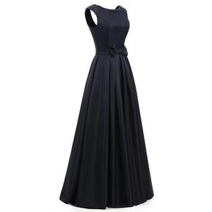 Image 2 - ANGELSBRIDEP Satin Prom Kleider 2020 Vestidos De Fiesta Mode A line Bodenlangen Perlen Formalen Frauen Party Kleid Gala Jurken