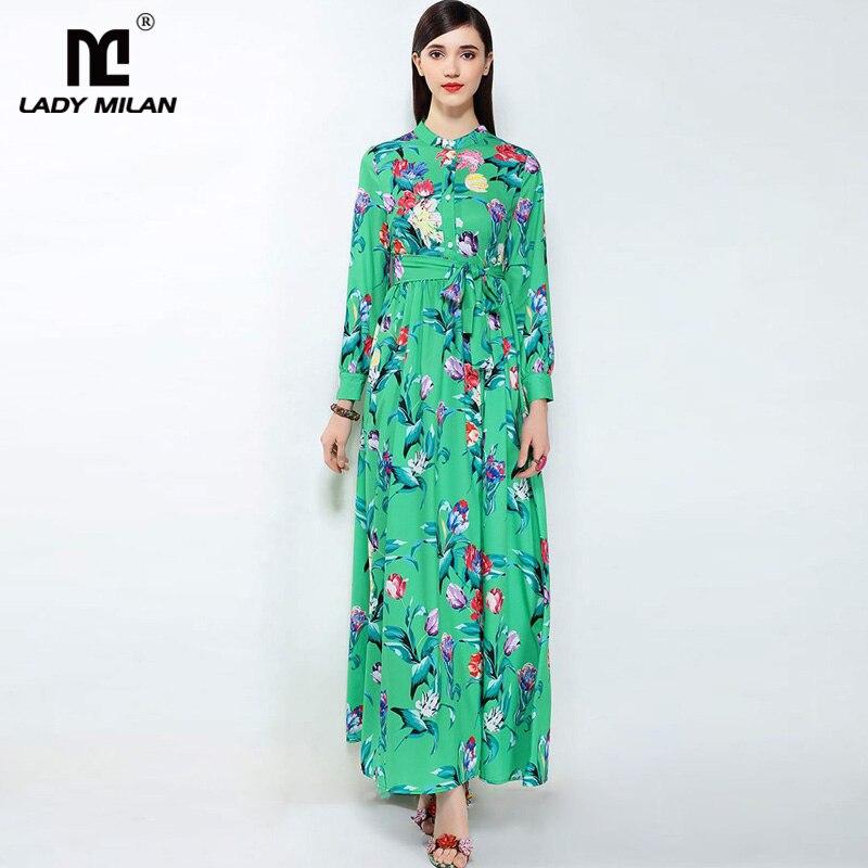 New Arrival 2018 Womens O Neck Long Sleeves Printed Sash Belt Maxi Designer Runway Dresses