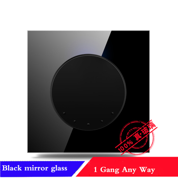 EU France German UK Socket 86 type 1 2 3 4 gang 1 2way household black mirror Tempered glass wall switch panel LED light switch 18