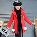 Winter hot style 2016 hooded jacket gloves woolen cloth with thick dust coat leisure fashion coat of the girls