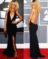 Vestidos No Tapete vermelho 2017 Halter Bainha Até O Chão Aberto Para Trás Fenda Sexy Preto Barato Famosa Imitação Rihanna Celebridade Vestidos