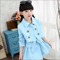 Niño ropa Casual establece niñas chico coreano sistemas de la ropa de vestido + Coats Set adolescentes vestido largo de la manga + capa 2 juego