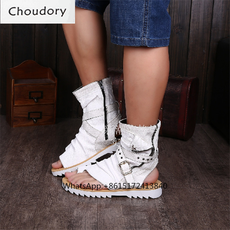 60ff7cae133 Choudory Solid Flat Rome Flip Flop Ankle Leather Boots Men Zipper Cutouts  Breathable Casual Shoes Platform Mens Chukka Boots Men on Aliexpress.com