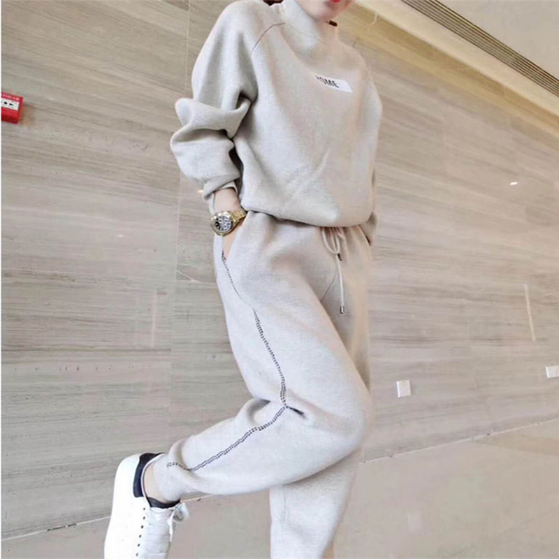 Autumn And Winter New Mixed Cashmere Knit Suit Thick Loose Sweater Harem Pants Women's Fashion Two-piece Suit (with Elastic)