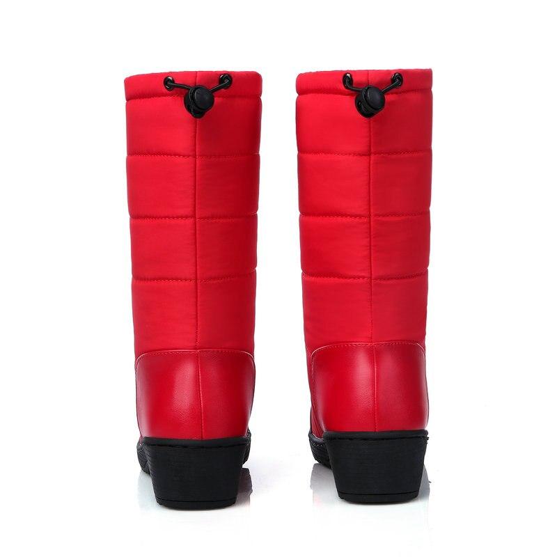 De becerro Nemaone Invierno Felpa Impermeables azul Señoras De Mujer Botas Nieve Zapatos Negro Abajo Mujeres rojo Mediados Niñas rFI1wXRxIq