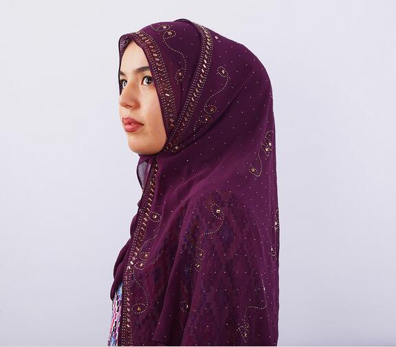 H1171 latest big size chiffon muslim long scarf with rhinestones,fashion women's headwrap,fast delivery