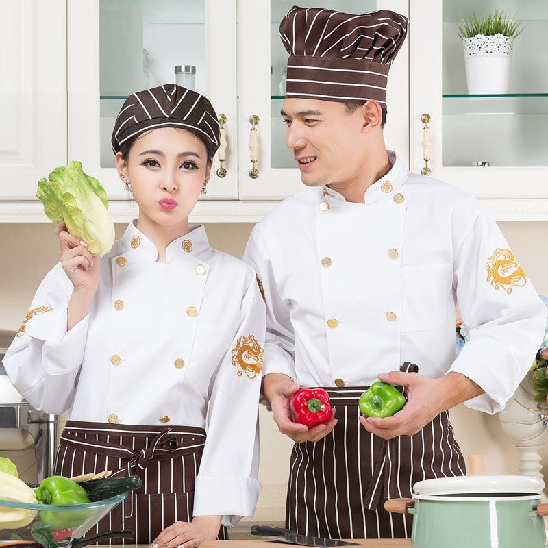 (10set-Hat&Shirt&Apron)Cook Suit Long-sleeve Work Wear Autumn And Winter Kitchen Clothes Pastry Uniform Food Overalls Full Set