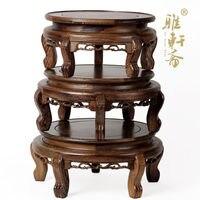 Mahogany wood flowerpot Flower Bonsai shelf wing base wooden table seat frame decoration wood Tiger Tank