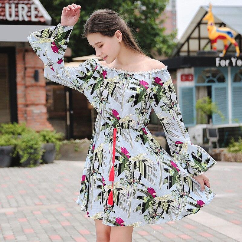 2017 Women's Clothing Printed Dress Boho Long Sleeve Mini Dress Floral Printing Holiday Bohemian Slim Dress Vacation Vesitdos