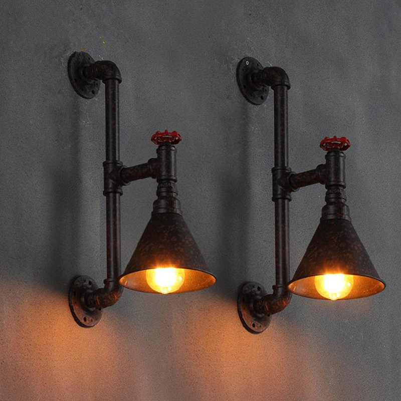 Loft Vintage restaurant bar wall lamp water pipe industry lighting american country wall light
