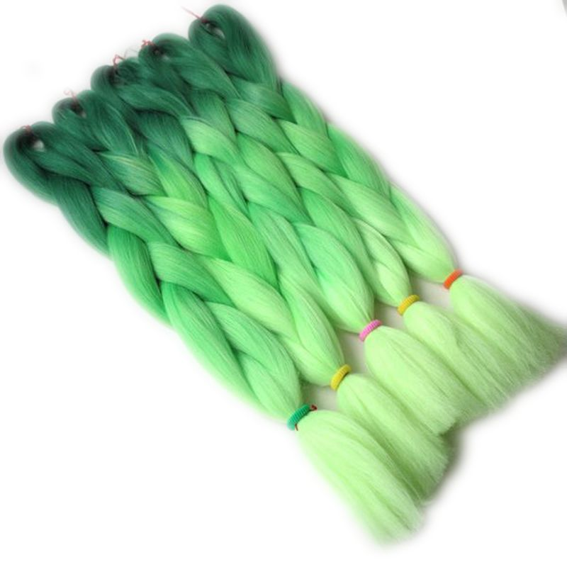 "Luxury For Braiding 10pcs/lot 24"" Dark Green Light Green Yellow Ombre Kanekalon Braiding Hair African Synthetic Jumbo Braids"