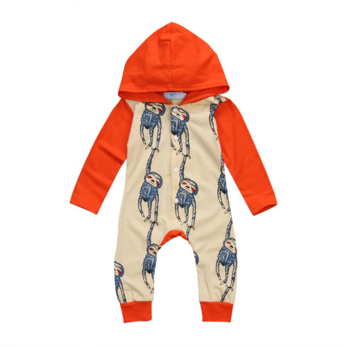 INfant Newborn Baby Boy Girl Clothing Hooded Monkey Long Sleeve Romper Jumpsuit Clothes Outfits