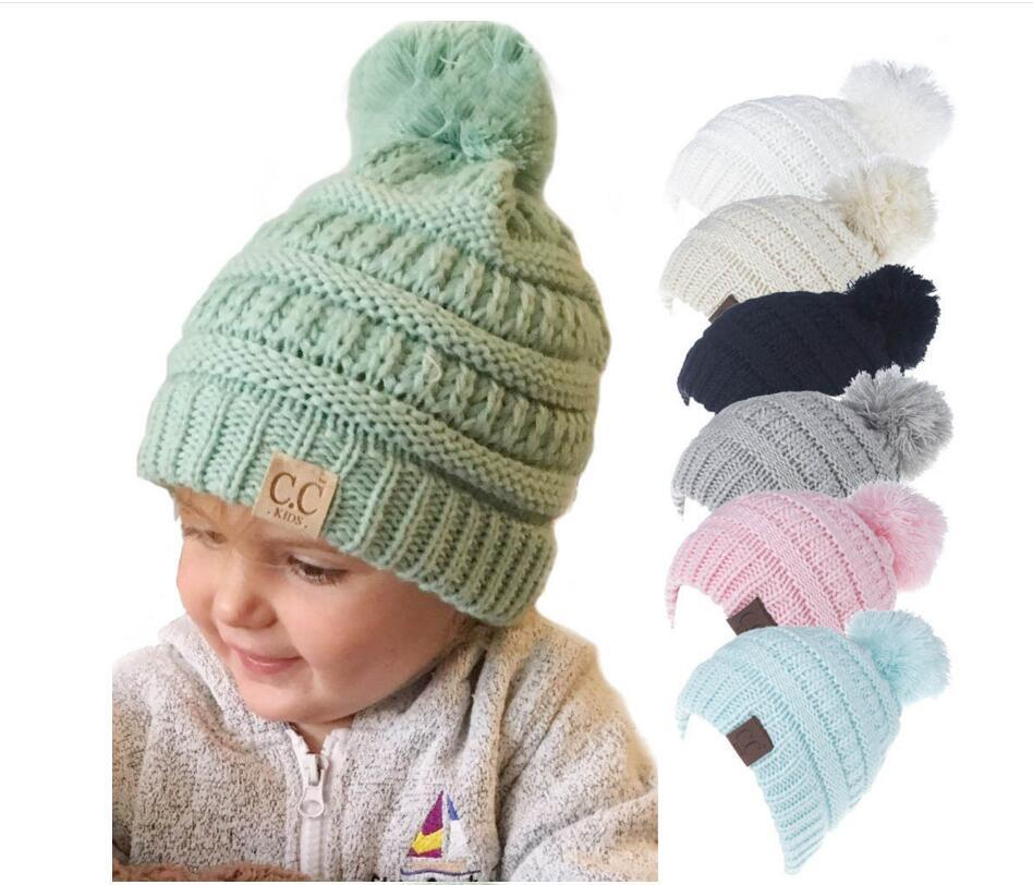 188b6bca1b6 CC Label Kids Hats Winter Warm Baby Boys Girls Knitted Caps Pom Pom  Children Beanies Christmas Best Gifts Hat 11 Styles -in Hats   Caps from  Mother   Kids ...