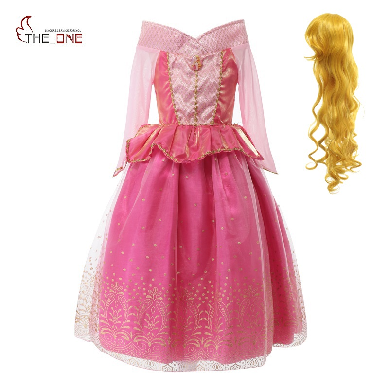 цена на MUABABY Princess Summer Dresses Girls Sleeping Beauty Aurora Cosplay Costume Kids Christmas Birthday Party Tutu Dresses Fantasy