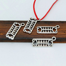 TJP 20 pcs Antique Silver Tone Abacus Charms Pendants Beads Hollow Open for DIY Bracelets Jewelry Making Findings 16x7mm
