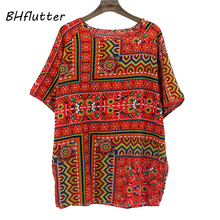 BHflutter 4XL Plus Size Women Clothing 2018 Blouse Shirt Women Batwing Casual Summer Tops Tees Floral Print Cotton Linen Blouses