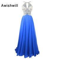 Custom Made Beadings Chiffon Evening Dresses Long Sexy Blue Party Dress For Women Prom Dresses 2018