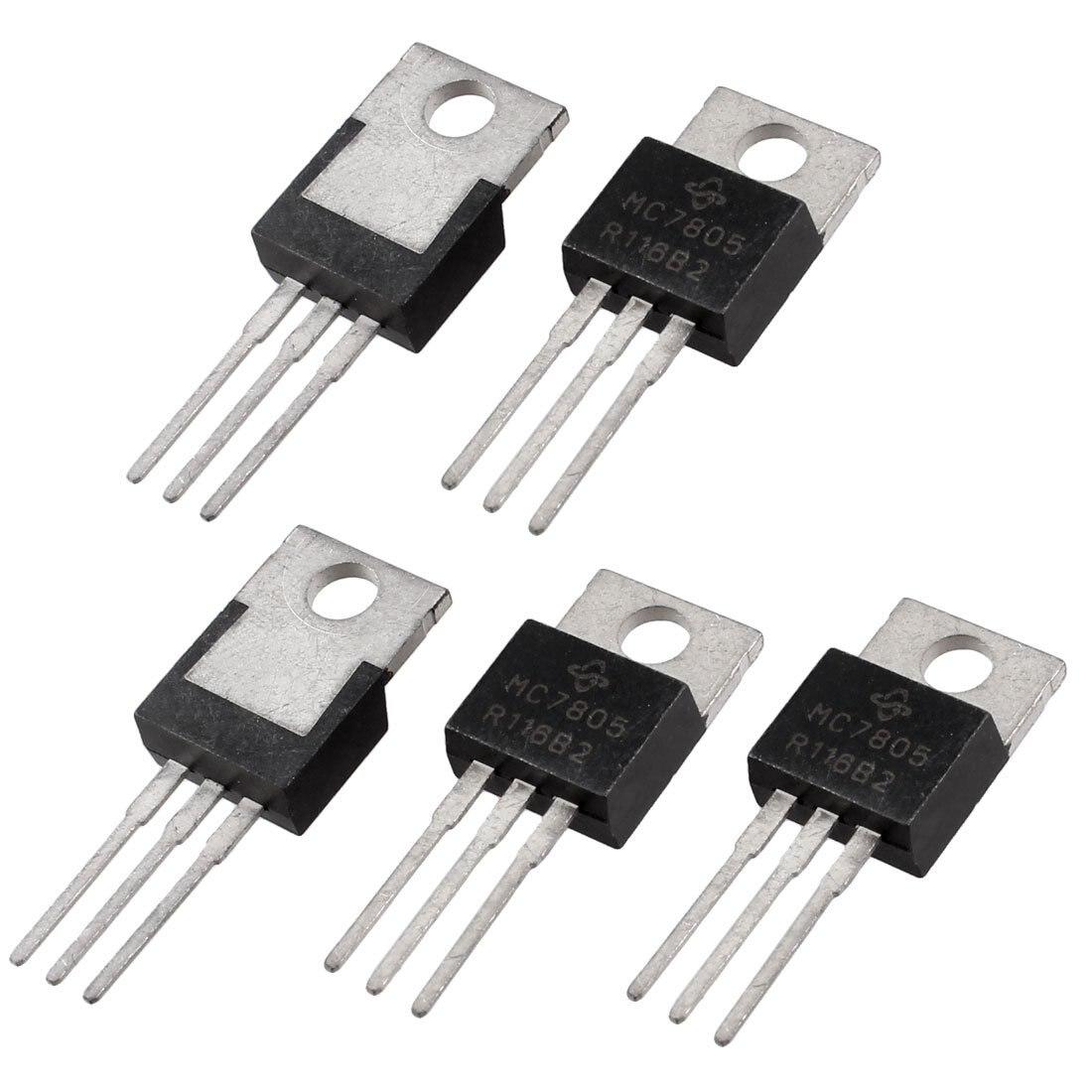 5 Pcs 3 Terminals 1.5A 5V L7805CV Postive Voltage Regulators Voltage Regulators Stabilizers