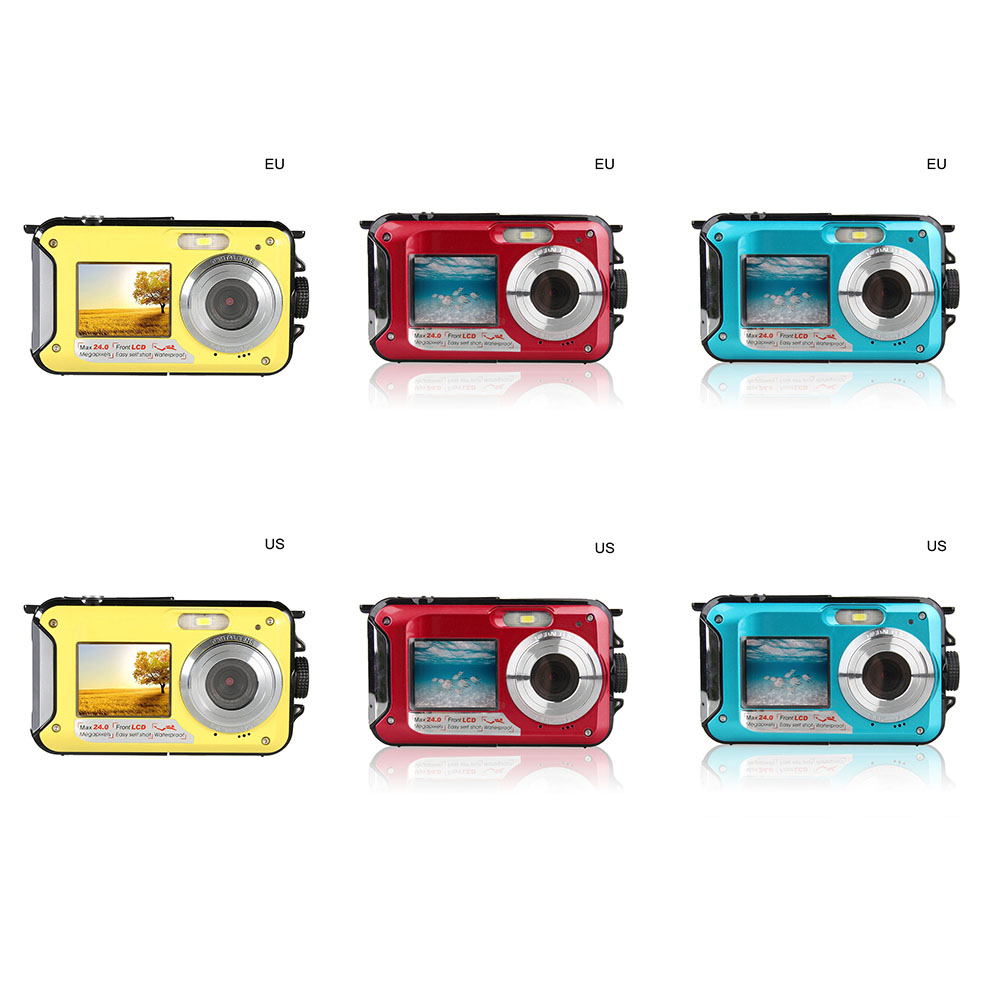 Digital Camera Waterproof 24MP MAX 1080P Double Screen 16X Digital Zoom Camcorder HD Underwater Camera 3
