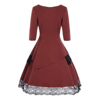 Sisjuly Women Dresses Vintage Mid Calf Half Sleeve V Neck Color Block Lace A Line Patchwork
