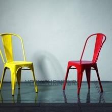 Silla de comedor de Metal Industrial moderna Vintage para exteriores, silla de café de estilo clásico y de acero, silla de Metal apilable multicolor para exteriores