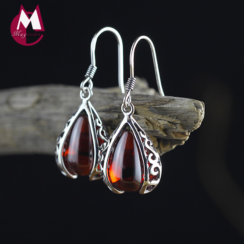 где купить Water Drop Red Garnet Women Earrings 100% 925 Sterling Silver Drop Earrings Charm Punk Wedding Party Hollow Carving Jewelry SE20 дешево