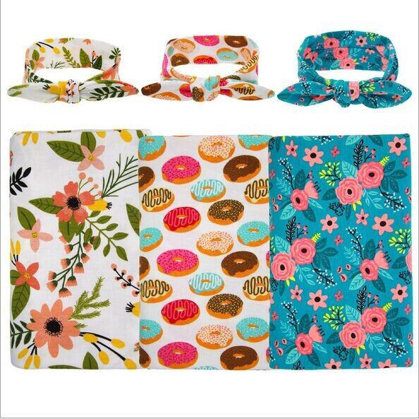 2Pcs/Set ! Soft Muslin Newborn Baby Blanket Bedding Blanket Wrap Swaddle Blanket Bath Towel+Headband