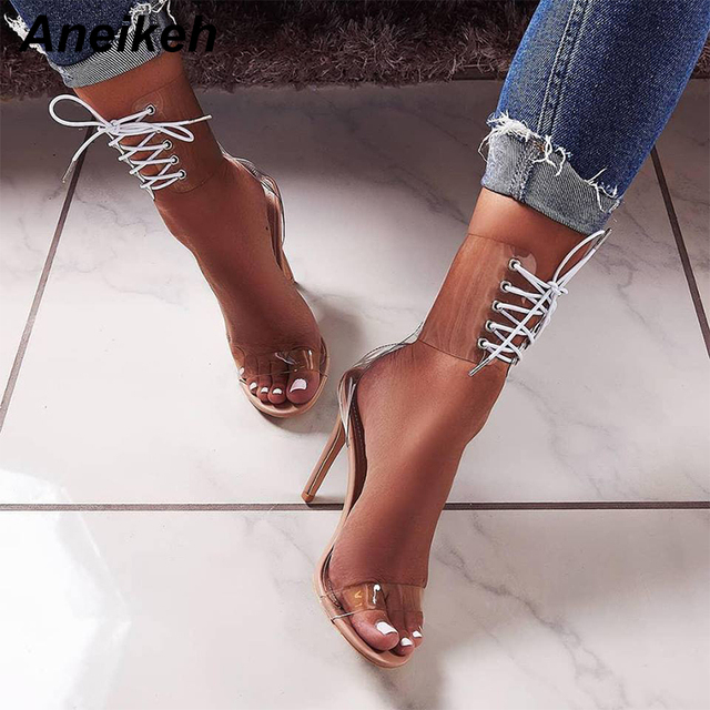 3586fccca23d Aneikeh 2018 PVC Jelly Lace-Up Sandals Open Toed High Heels Sexy Women Transparent  Heel Sandals Party Pump 11CM Sandalias Mujer