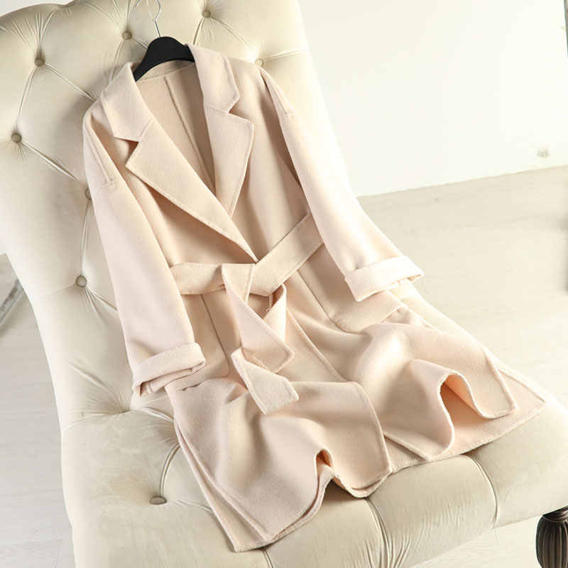 Neue ankunft 100% Wolle mantel marke winter woolen mantel 2019 dicke kaschmir mantel feste weibliche grüne mantel schärpen lange wolle mantel