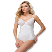 VIP One Piece Full Cup Bra Bodysuit Solid Color Lace Adjusted Straps Back Closure Body Shaping