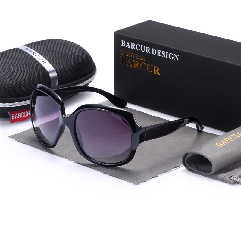 BARCUR TR90 Original Gradient Polarized Sunglasses Women Vintage