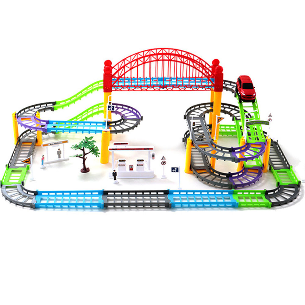 Kids Funny Electric Multi-track Car Toy Set Two-layer Spiral Track Roller Coaster Toy Road Model Slots Toy Racing Bi-Rail Car