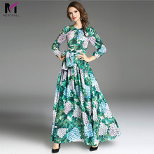 High Quality 2019 New Runway Fashion Designer Maxi Dress Women's Long Sleeve Green Leaves Floral Print Loose Casual Long Dresses high quality 2017 runway dress women s fashion green hydrangea flora print full sleeve button long bohe dress fast express free