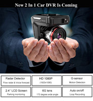 2 In 1 universal 2.4 1080P Car DVR Video Recorder Dash Camera Flow Radar Detector Night Vision English Voice Broadcast Dash Cam