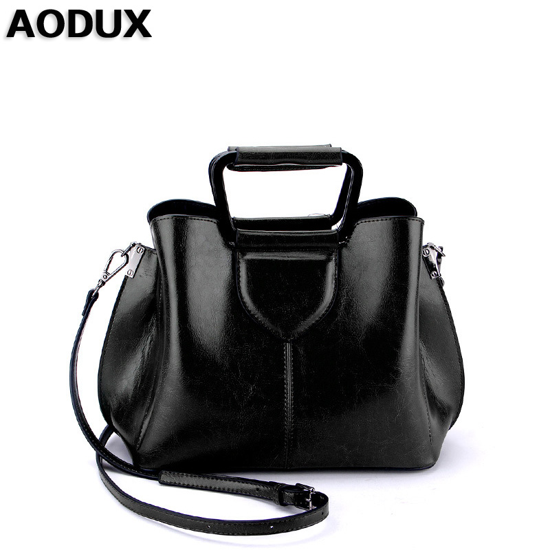 AODUX Genuine Leather Second Layer Cow Leather New Fashion Famous Brand Women Tote Shopping Bags Female Shoulder Messenger Bag maifeini first layer cow leather women bag female genuine leather luxury handbag cowhide tote bags fashion messenger bags bolsa