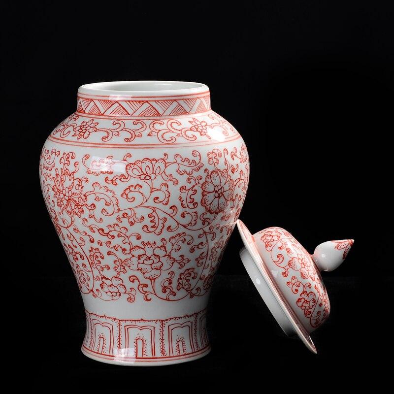 Pot de gingembre en céramique Ming dynastie peinture à la main antique avec sous-émail Lotus rouge élégant et beau trésor - 2