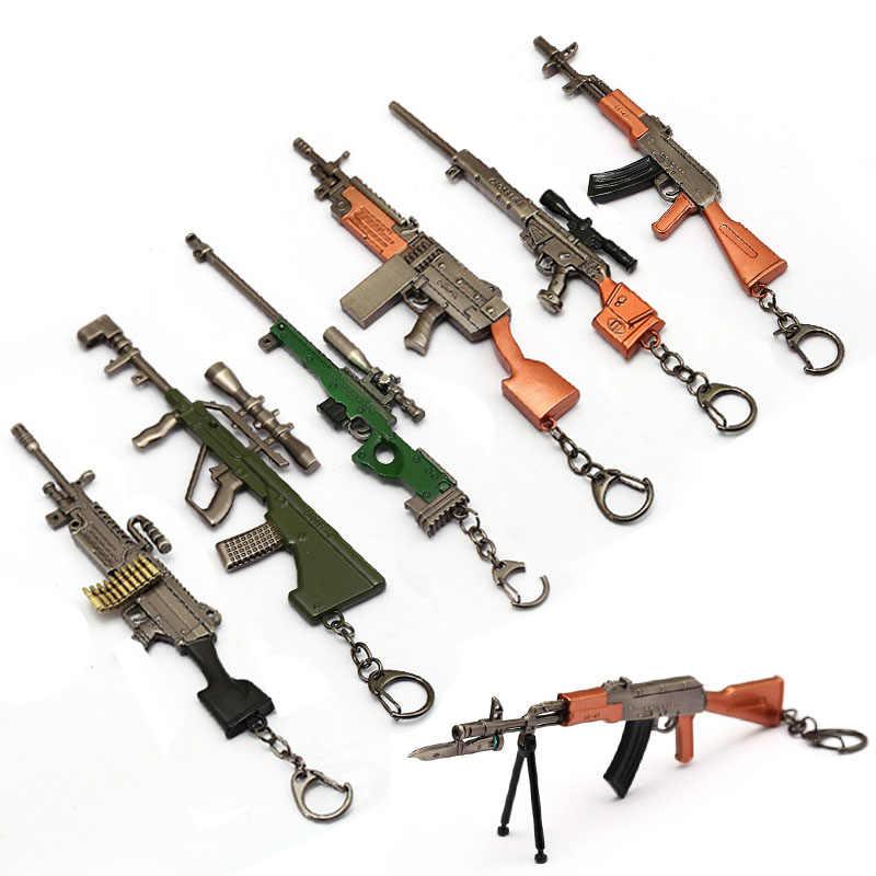 Игра PUBG Playerunknown's Battlegrounds 17 см снайперский пистолет оружие брелок металлический сплав AWM 98K M24 брелок для ключей Мужская Автомобильная бижутерия