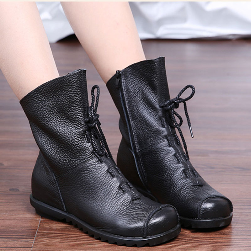 Real Leather Winter Women Boots with Fur Plush Female Flat Winter Shoes Casual Ladies Warm Cotton Snow Winter Ankle Boots DC202 new 2015 original warm snow boots women plush winter ankle boots comfortable lady flame design casual australia flat shoes