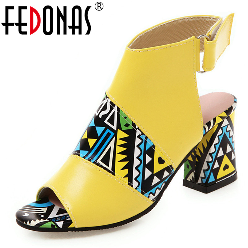 FEDONAS Sandals Office-Shoes Ankle-Boots Classic High-Heels Print Peep-Toe Summer Fashion