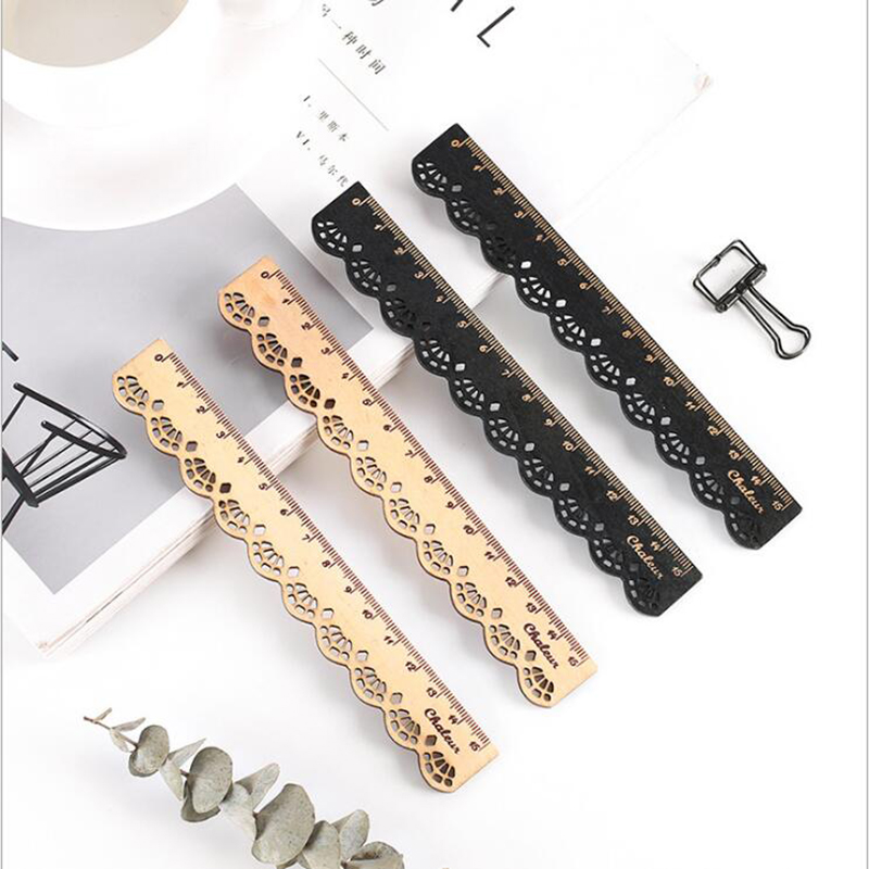 5pcs Creative Stationery Vintage Sweet Lace Wooden Ruler Student Drawing Office Marking Tools Children'S Gift Stationery
