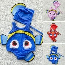 Детский купальный костюм из 2 предметов для маленьких девочек, одежда для купания с золотой рыбкой, купальный костюм+ шапочка для плавания, новинка года, милый высококачественный купальник, лидер продаж