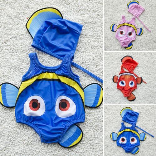 2PCS Kids Baby Girl Swimsuit Goldfish Swimwear Swimmable Costume+Swimming Hat 2019 New Cute High Quality Hot Sale