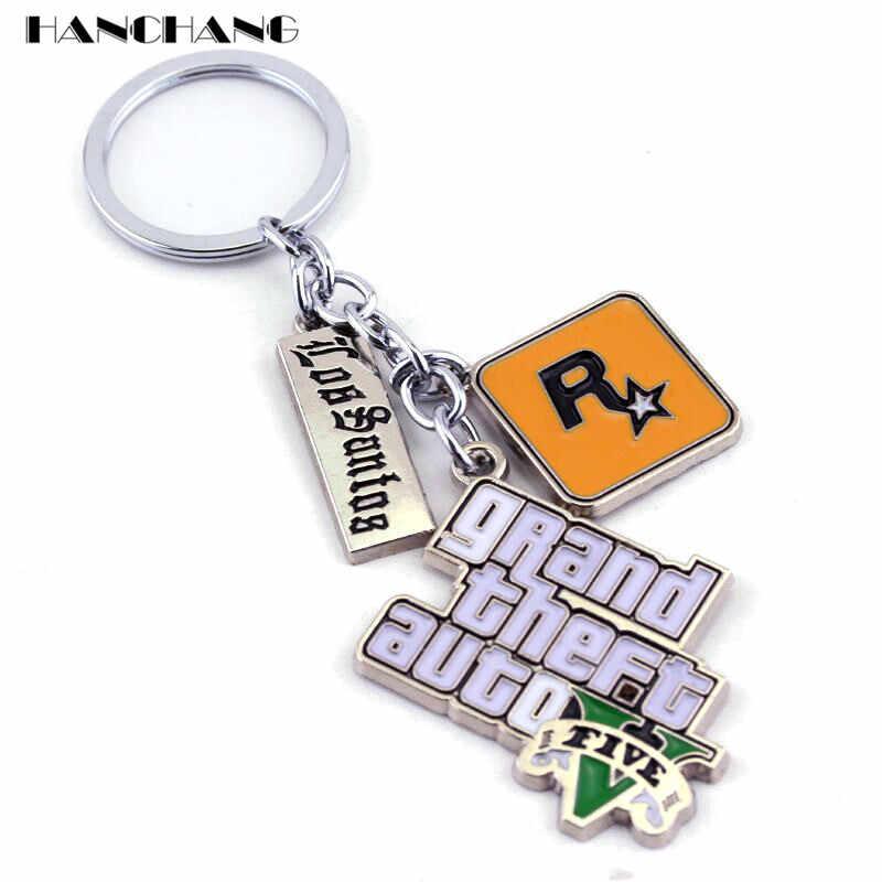 Muti-จี้ Key ผู้ถือ PS4 Xbox PC KEYFOB เกม GTA V Grand Theft Auto 5 พวงกุญแจสำหรับแฟน KEY โซ่ Key Ring llaveros