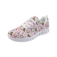THIKIN 2019 Spring Summer Mesh Anti Odor Lace up 3D Custom Nursing Bear Baby Prints for Teen Girls Skid Proof Beach Casual Shoes