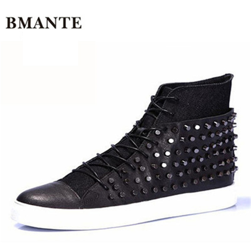 Winter Male Rivet Ankle Casual Flats Spring Sneaker Chain Lace-Up Boots Men Genuine Leather Mixed Colors Trainers High Shoes spring autumn high quality patchwork future leather high top men casual shoes lace up mixed colors flats ankle wrap mens shoes