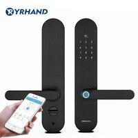 Yrhand fechadura biométrica da impressão digital  fechadura inteligente de segurança com wifi app senha rfid desbloquear  fechadura da porta hotéis eletrônicos|Trava elétrica|   -