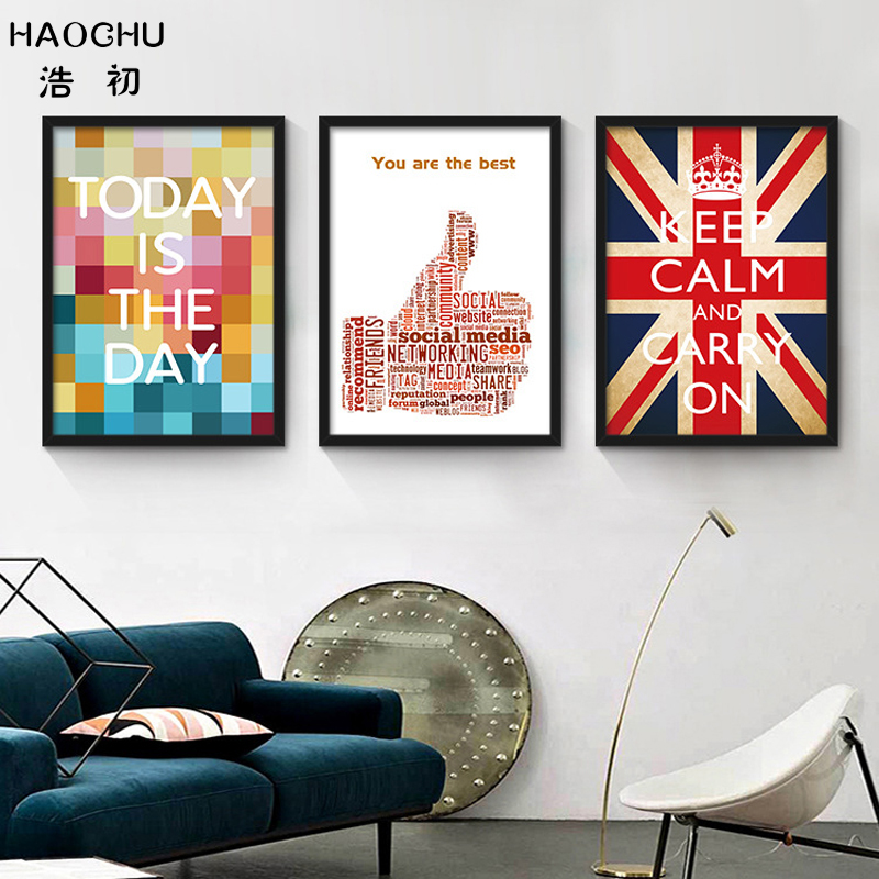 HAOCHU Inspiration Quote Canvas Print Painting Poster Wall Picture For Home Office Decoration LOVE Life Enterprise Culture Mural image
