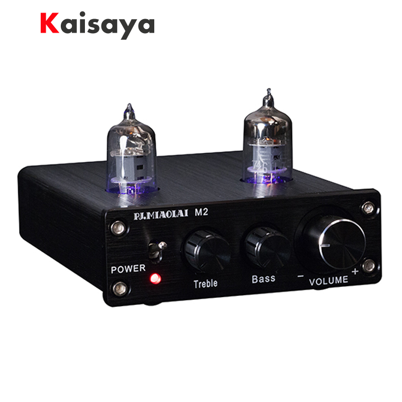 M2 HIFI Tube Preamp 6J1 Valve Audio Preamplifier Dual Channel Treble Bass with Power Adapter gzlozone finished hifi 6j1 tube stereo preamplifier bass treble adjustable l3 17